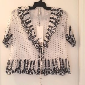 Zara trf collection black and white blouse